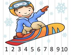 {Winter Sports} Hands-on practice with number order: counting by and The puzzles are self-correcting and can be used in a variety of ways: small groups, math centers, take-home practice. Preschool Books, Preschool Math, Kindergarten, Preschool Winter, Winter Activities, Activities For Kids, Theme Sport, Number Puzzles, Teacher Helper