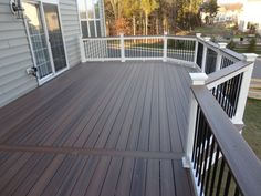 Go ahead and browse through our gallery, get inspired, pin and save the deck patio designs for small yards you like best! Our team has found some great examples of deck patio designs for small yards which we would like to share. Deck Stain Colors, Deck Colors, Grey Deck Stain, Deck Railings, Railing Ideas, Black Railing, White Deck, Black Deck, Gray Deck