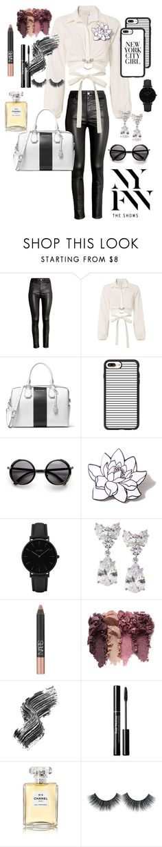 """NYFW black white floral nude classic basic round feathered"" by highestcloud ❤ liked on Polyvore featuring H&M, Cinq à Sept, MICHAEL Michael Kors, Casetify, PINTRILL, CLUSE, Fantasia by DeSerio, NARS Cosmetics, Illamasqua and Chanel"