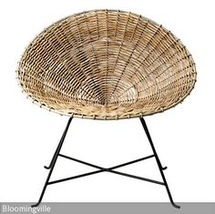 Beautiful rattan chair from Bloomingville. With this original and simple design,it will bring a natural touch to your Scandinavian interior. Go for rattan: real trend of the moment! White Accent Chair, Accent Chairs, Chaise Formica, Round Wicker Chair, Wicker Chairs, Chair Cushions, Room Chairs, Wicker Armchair, Cane Chairs