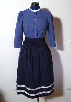 Costumes traditionnels, Dirndl with apron, blue, size 36/S est une création orginale de vampertinger sur DaWanda