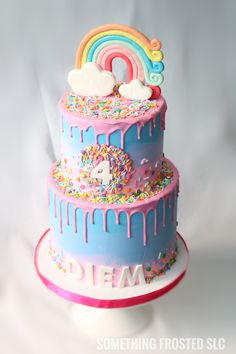 2 tier ombre buttercream drip cake with assorted rainbow sprinkles and a fondant rainbow topper! Purple, pink and blue Birthday Cakes Girls Kids, Candy Birthday Cakes, Blue Birthday Cakes, Buttercream Birthday Cake, Rainbow Sprinkle Cakes, Fondant Rainbow, Rainbow Sprinkles, Jojo Siwa Birthday Cake, Blue Drip Cake