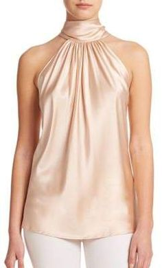 Ramy Brook - Paige Stretch-Silk Halter Blouse at Saks Fifth Avenue Halter Top Shirts, High Neck Shirts, Bow Shirts, Halter Tops, Sleeveless Tops, Halter Neck, Pink Shirts, Ramy Brook, Winter Mode