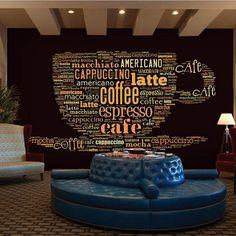 Custom English Letters Coffee Mug Design Retro Mural Wallpaper