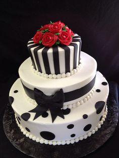 Black and White red rose wedding cake, Designed Sam Lucero, Blue Cake, Little Rock AR Black White Cakes, Black And White Wedding Cake, Red Rose Wedding, Wedding Cake Roses, Purple Wedding Cakes, Fall Wedding Cakes, Beautiful Wedding Cakes, Wedding Cake Designs, Beautiful Cakes