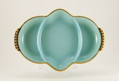 Holiday dining gold trimmed Fire King turquoise relish dish