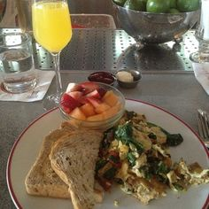 A nice 'Drag Through the Garden: Pan Scrambled Egg Whites, Roasted Seasonal Vegetables, Spinach, White Cheddar Cheese with a Mimosa. White Cheddar Cheese, Vegetable Seasoning, Egg Whites, Scrambled Eggs, Photo Credit, Spinach, Roast, Vegetables, Nice