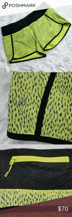 """Lululemon Run Times 4 way Stretch Shorts sz 12 RARE Lululemon Run Times Short 4-way Stretch - Dottie Dash Clarity Yellow 12 XL Excellent used condition!  Size base off of measurements  Flat Lay Measurements  Waist: 16"""" Hip: 19"""" Length in front: 11"""" Length in back: 13""""  Comes from a smoke and pet free home! lululemon athletica Shorts"""