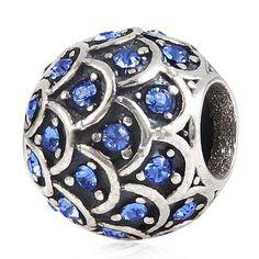 Crystal Dragon Scale European Style 925 Sterling Silver Bracelet Charm
