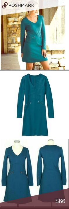 """•Athleta•Celebration•Dress• EUC•no flaws or signs of wear•Turquoise dress•thicker cotton material• zipper detail at wrists & hip pockets•Vneck• pullover style• knee length•bust:34""""•shoulder:14.5""""•sleeve:25""""•waist:29""""•hips:36""""•length:38""""•40/29/27/4 cotton/modal/nylon/spandex• Athleta Dresses"""