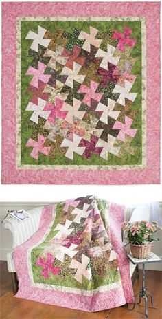 HANDMADE QUILT -- Weekend Twister Romantic Lap or Twin Bed Quilt Wedding Anniversary Gift