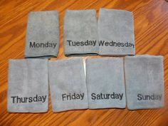 Days of the Week Washcloths, Teen Gift, Face Towel, Microfiber Make Up Removal Cloth, Gift for Her, Slumber Party Favor, Secret Pal Gift