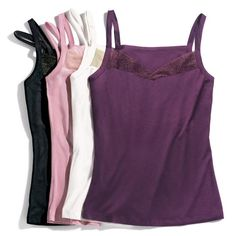 Festive 4-pack of Cami tanks in purple, black, ivory and pink feature a glittery foiled-mesh trim at the neckline.  #avon_valerie vnesnah.avonrepresentative.com