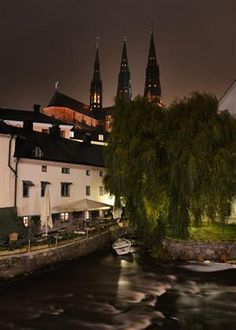 Uppsala Cathedral by night, river Fyrisn in the foreground