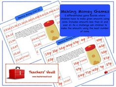 Making Money Games - Money Measurement Maths Teaching Resources, Activities and Games Money Games Ks1, Make Money Games, How To Make Money, Primary Maths, Primary School, Ks1 Maths, Math Measurement, Teaching Math, Teaching Resources