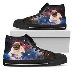 Interesting Presents For #pug High Top Shoes Galaxy Space Flying – Gift for Crush