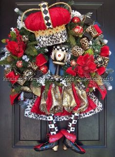 """Christmas Wreath-""""King"""" Christmas Wreath-Petals & Plumes-Hat n' Boots Collection © 2010"""