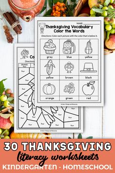 These English worksheets for kindergarten were a great addition in my classroom. The set includes kindergarten sight words, cvc word worksheets, alphabet activities, and more. The kindergarten printables are so fun and include so many cute graphics, just like a game. The Thanksgiving printables activities can be used during homeschool, or in the classroom for kindergarten and first grade students. You can easly add these in your homeschool schedule. #kindergartenclassroom…