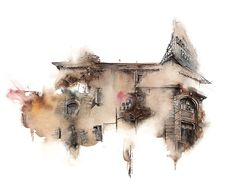 """These architectural watercolor studies by Sunga Park seem to drip and fade out of focus like a memory or a dream. The graphic designer and illustrator currently lives and works in Busan, South Korea as a wallpaper designer but it seems her true passion is for watercolor and other artistic endeavors. """"I'm living in Busan, …"""