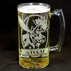 For the outdoorsman - Personalized Moose Beer Stein, Etched Glass