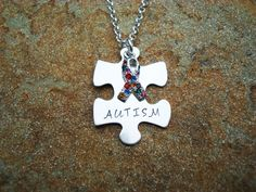 Hand Stamped Autism Awareness Necklace, Sterling Silver