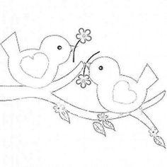 .2 birds on a branch; stitchery