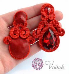 Soutache Jewelry. Artystyczna Biżuteria Autorska Katarzyna Wojtak: #0040 Rojo sangre. Kolczyki Sutasz.