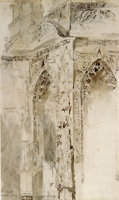 John Ruskin, Caen, St Sauveur, 1848.Pencil and wash, 44.8 x 27.3 cmSource: Robert Hewison, Ruskin, Turner and the Pre-Raphaelites, 2000.