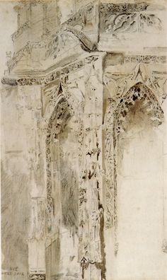 John Ruskin, Caen, St Sauveur, 1848.Pencil and wash, 44.8 x 27.3cmSource: Robert Hewison, Ruskin, Turner and the Pre-Raphaelites, 2000.