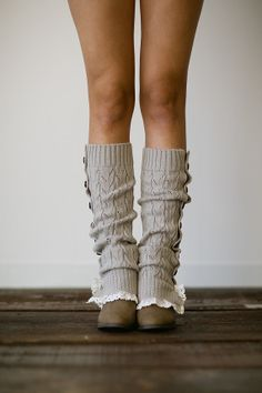 I kinda LOVE these!   Gray Button Up Knitted Leg Warmers Lace Trim Boot by ThreeBirdNest, $38.00