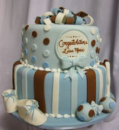 baby shower cake.  SImple with a nice colour scheme for a boy.  Change the blue parts to pink or light purple for a girl