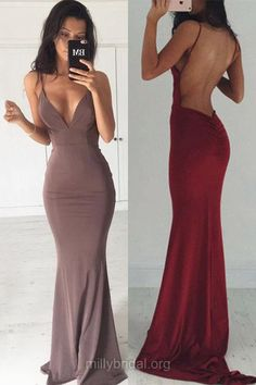 Hot Trumpet/Mermaid Formal Dresses, Sexy Homecoming Dresses, V-neck Jersey Evening Gowns, Ruffles Backless Party Prom Dresses