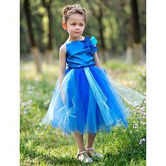 A-line Bateau Knee-length Satin And Tulle Tutu Dress/Flower Girl Dress With Flower – AUD $ 39.66