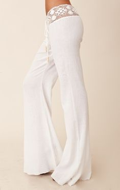 White pants with lace waste line. Most comfortable pj pants ever. Rem would LOVE these!