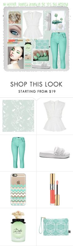 """""""Green and White Spring Outfit"""" by snowflakeunique ❤ liked on Polyvore featuring Polaroid, Timorous Beasties, Oscar de la Renta, Venus, Casetify, Yves Saint Laurent, Dolce&Gabbana, DENY Designs, Spring and white"""