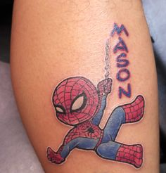 Cool small Spiderman tattoo done by our guest artist Rob!