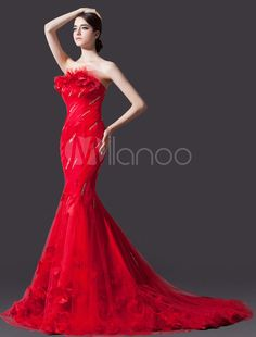 Red Mermaid Strapless Flower Court Train Bridal Wedding Gown - Milanoo.com