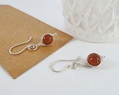 Red Goldstone Earrings Sterling Silver by BeauBellaJewellery