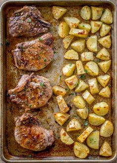 Brown Sugar Garlic Oven Baked Pork Chops - Dinner, then Dessert Easy Oven Baked Pork Chops made on a sheet pan in just 5 minutes of prep time! Oven Pork Chops, Pork Chops And Potatoes, Baked Pork Chops, Yukon Potatoes, Oven Baked Steak, Baked Potatoes, Easy Pork Chop Recipes, Steak Recipes, Healthy Recipes