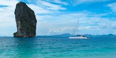 The catamaran at sea