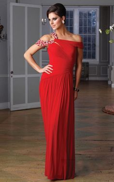 Modern Off The Shoulder Chiffon Ruched Red Sheath Dresses