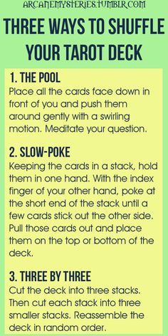 for me the last one works. if by chance during suffle, a card or cards fall out - they are the ones meant to be read. pick them up --that's your spread :)