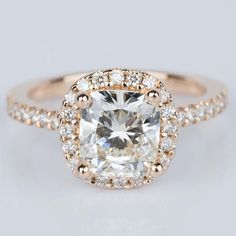 A beautiful recently purchased Halo Cushion Diamond Engagement Ring in Rose Gold!