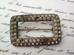 1920s paste rhinestone buckle brooch by thejunkdiva on Etsy, $7.95