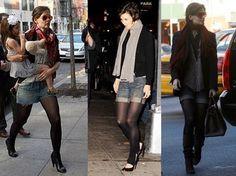 Short jeans com meia calça é a combinação perfeita para o outono 2013 | Knoten Jeans