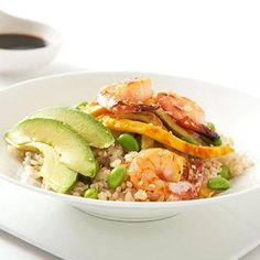 Shrimp and Avocado Rice Bowl - Flat Abs Diet: 7 Low-Fat Dinner Recipes | Fitness Magazine