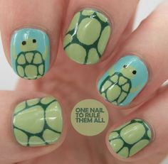 Cute turtle nail art I love turtles. This might be a bit young design for myself, but I would love turtles on my nails. Helps turtles are my favorite animal. Fancy Nails, Love Nails, Diy Nails, Pretty Nails, Turtle Nail Art, Turtle Nails, Nails For Kids, Girls Nails, Little Girl Nails