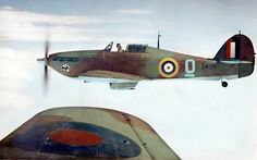 RCAF Hurricane XII - a 135 Sqn. Mk.XII over Patricia Bay, British Columbia during the war.These Canadian versions sported Packard Merlin 28 powerplants with Hamilton Standard Hydromatic props.