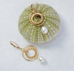 Gold Circle Earrings . Pearl Drops by MalibuJewel on Etsy