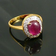 Classic 18K Gold Ruby and Diamond Ring from purrfecttreasures on Ruby Lane, Shop Rubylane.com